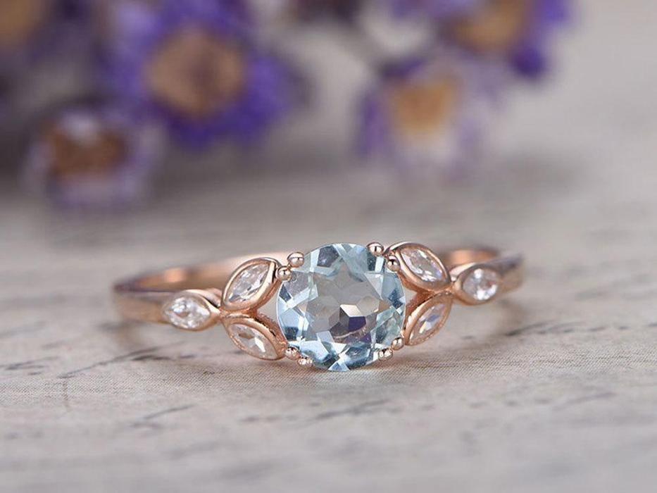 JeenMata - Classic leaf design 1.25 Carat Aquamarine and Diamond Wedding Ring in Rose Gold - Walmart.com