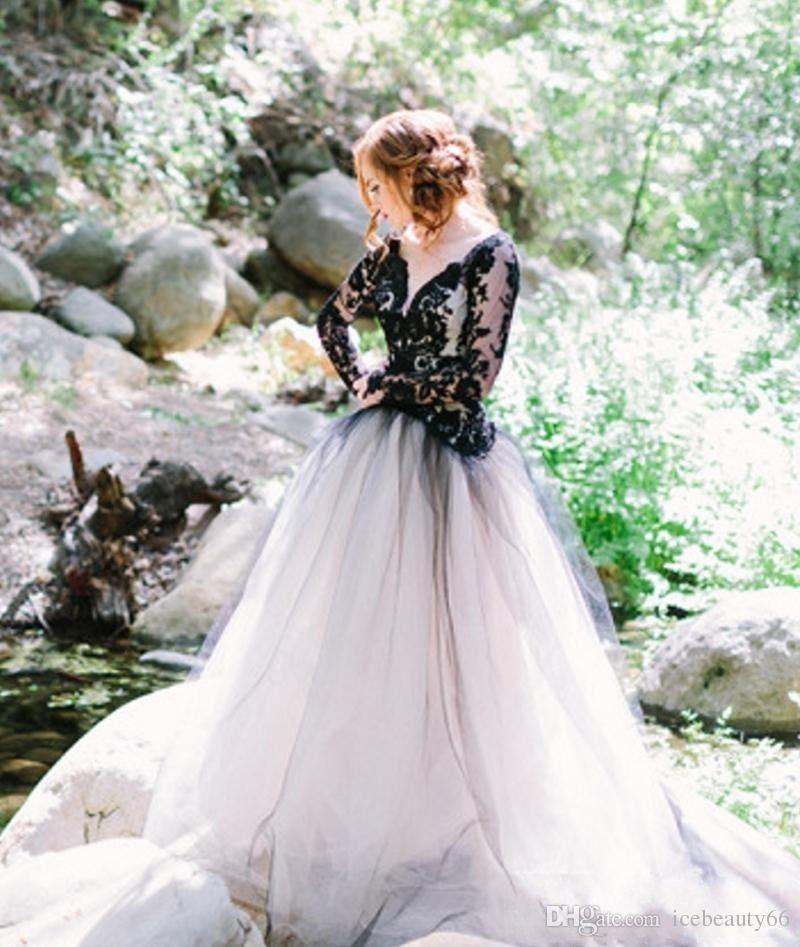 2017 Vintage Wedding Dresses Black and White Wedding Dress V Neck ...