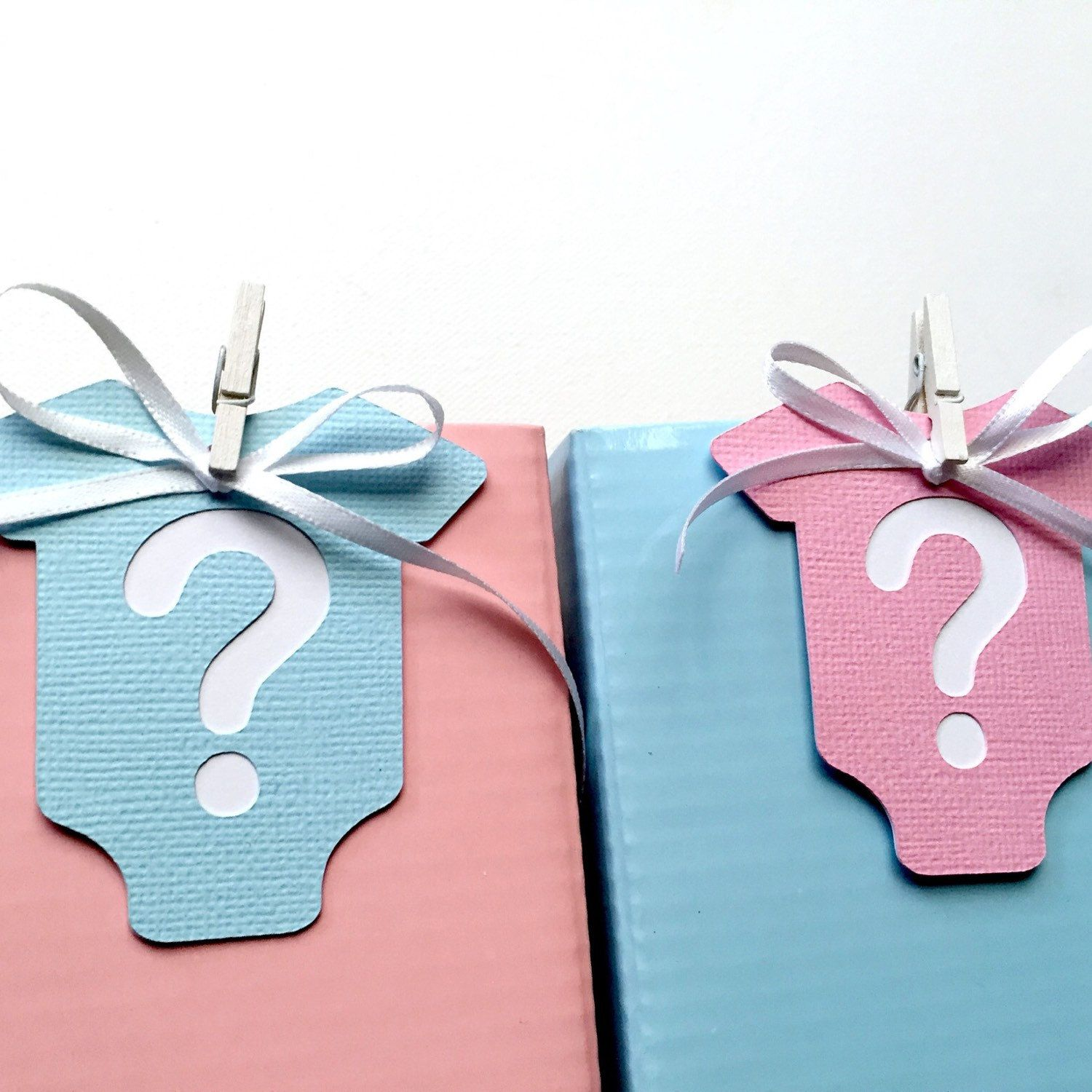 Gender reveal gift tags pink and blue baby shower gifts