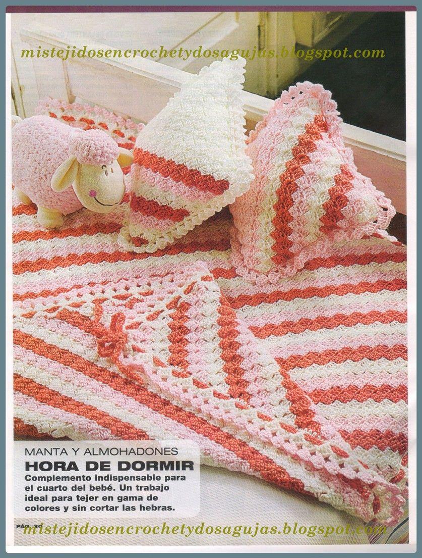 Mis tejidos en crochet y dos agujas (palitos): Manta diagonal para ...