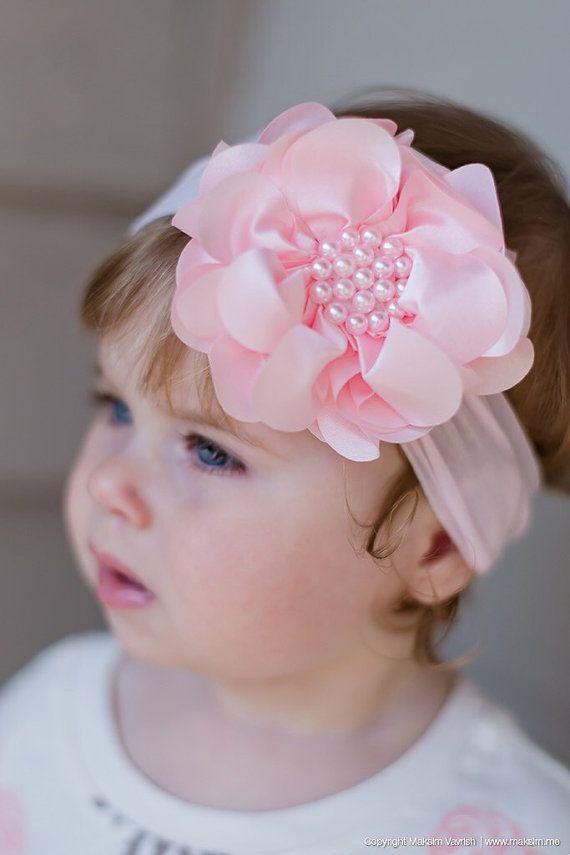 White Pearl Flower Headband Baby Pearl Flower Headband Baby