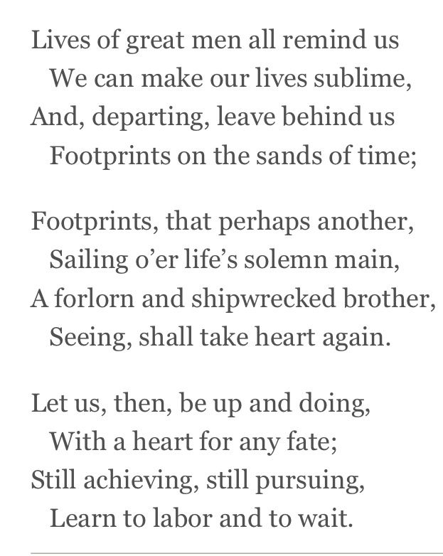 "Quote from Henry Wadsworth Longfellow ""The Psalm of Life"" 