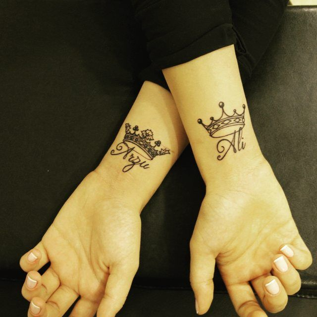 Crown Tattoos With Names Google Search Best Couple Tattoos Husband Tattoo Name Tattoos On Wrist