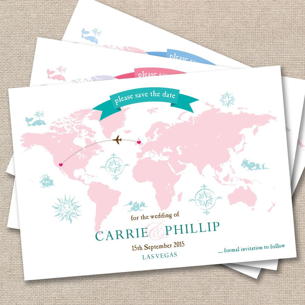 Wedding Abroad Invitation Wording Ideas: 25 X Personalised Wedding Save The Date Vintage World Map