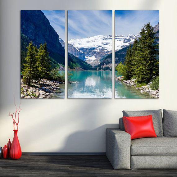 Lake Louise Rocky Mountain 3 Panel Split Triptych Canvas Etsy Triptych Canvas Custom Wall Art Beach Wall Art