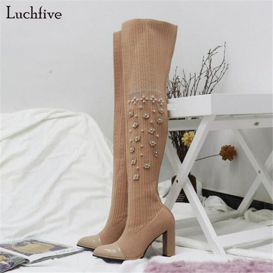 1eec3039f Новые Классические обрушенное цветы носок Сапоги и ботинки для девочек выше  колена Сапоги и ботинки для