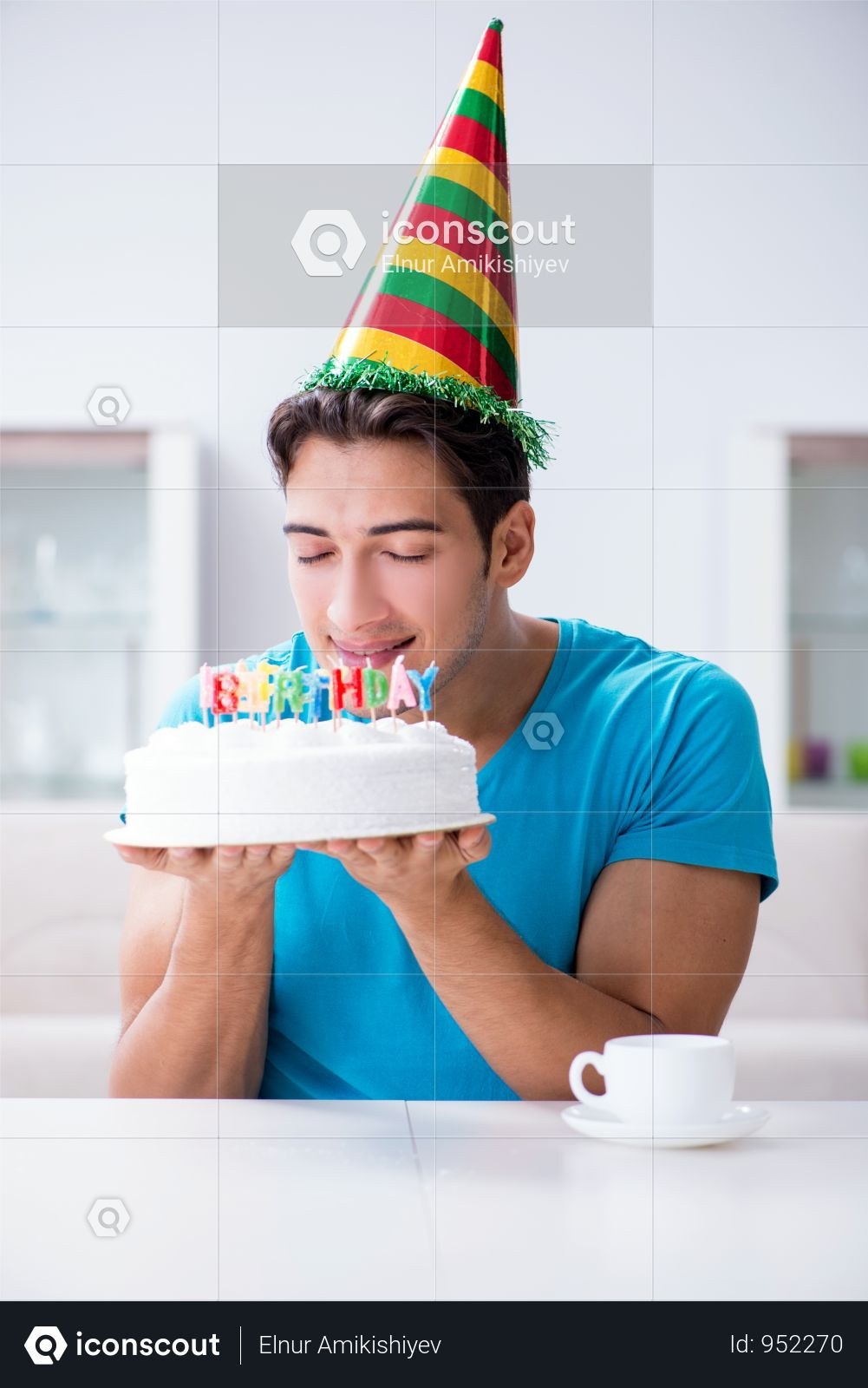 Premium Young Man Celebrating Birthday Alone At Home Photo Download In Png Jpg Format Home Photo Home Alone Young Man