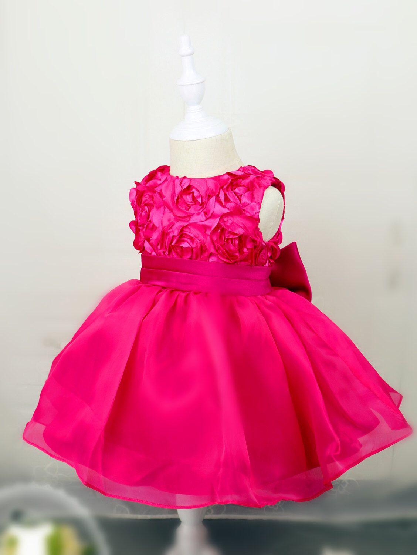 Hot Pink Toddler Thanksgiving Dress, Baby Christmas Dress, Baby Girl ...