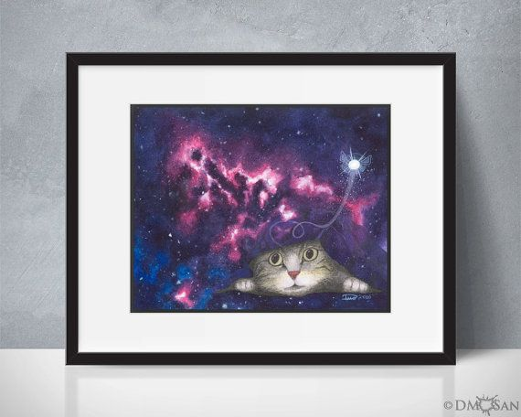 """""""Rip in the Fabric of Space"""" You would not believe the things this cat has seen. This is Xander. He's a curious yet shy cat. He likes to burrow under things and has managed to claw a hole in the fabric of space with his kitty powers.  Reproduction of an original art piece. Background was created with watercolor and the rest done with a watercolor under-layer and colored pencils over that for details."""