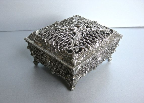Silver Pewter Style Sea Chest Trinket Box Makes A Very Nice Gift