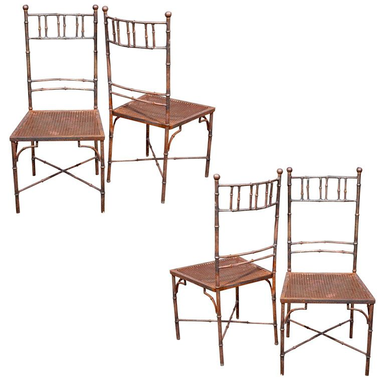 Set of 8 Faux Bamboo Metal Garden Chairs | From a unique collection of antique and modern dining room chairs at http://www.1stdibs.com/furniture/seating/dining-room-chairs/