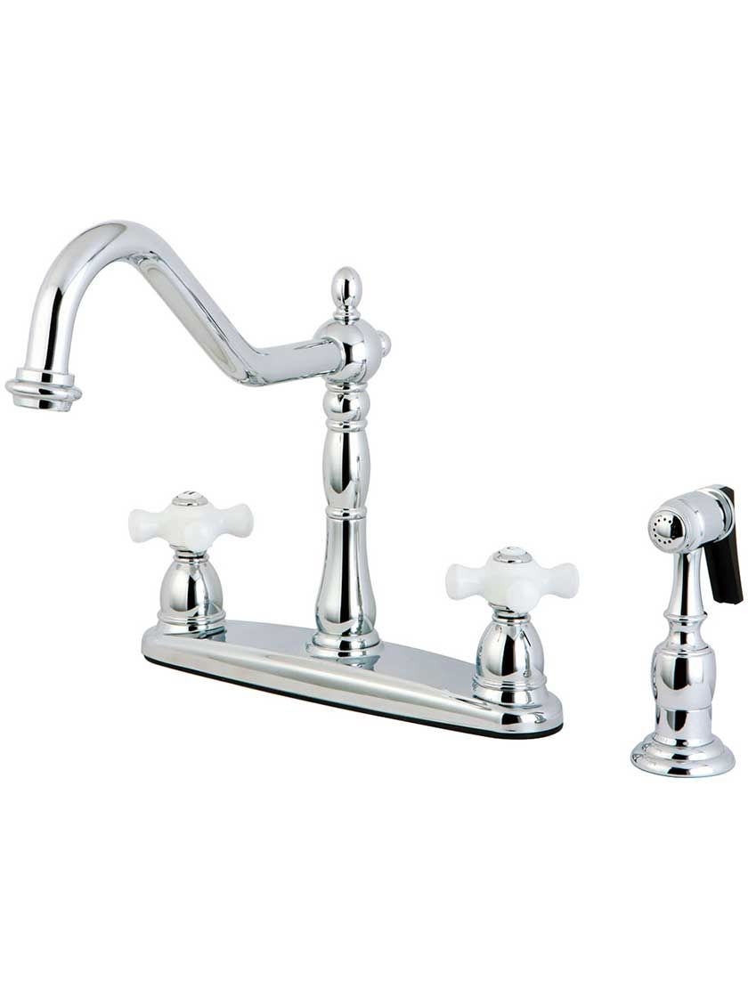 Chesapeake Double Handle Kitchen Faucet With White Porcelain Cross Handles And Side Sprayer Kitchen Faucet High Arc Kitchen Faucet Kitchen Faucet With Sprayer