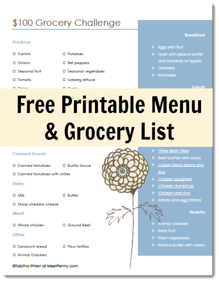 100 grocery list for a week frugal living and personal finance