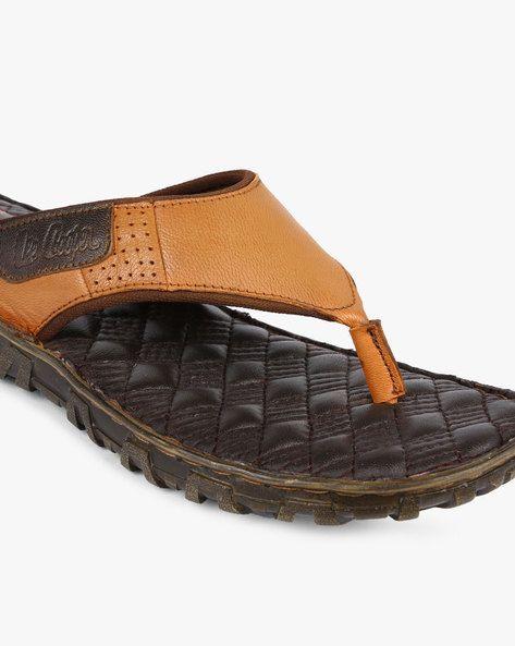 44bf5b9c440 Buy Lee Cooper Men Tan Genuine Leather Thong-Strap Flip-Flops