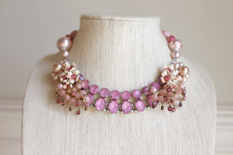 Pink Flower Necklace Vintage Rhinestone floral Up cycled Repurposed Assemblage OOAK statement bib Enamel Pearl clip on earring Blush Peach by SusieKays on Etsy