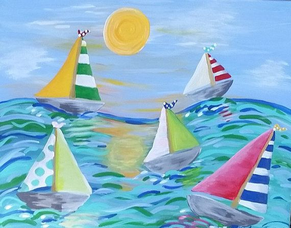 Hey, I found this really awesome Etsy listing at https://www.etsy.com/listing/206506664/sailboat-art-whimsical-beachy-sea-ocean