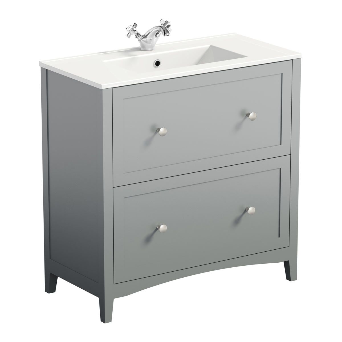 The Bath Co Camberley Satin Grey Floorstanding Vanity Unit And Ceramic Basin 800mm Vanity Units Grey Vanity Unit Basin Vanity Unit