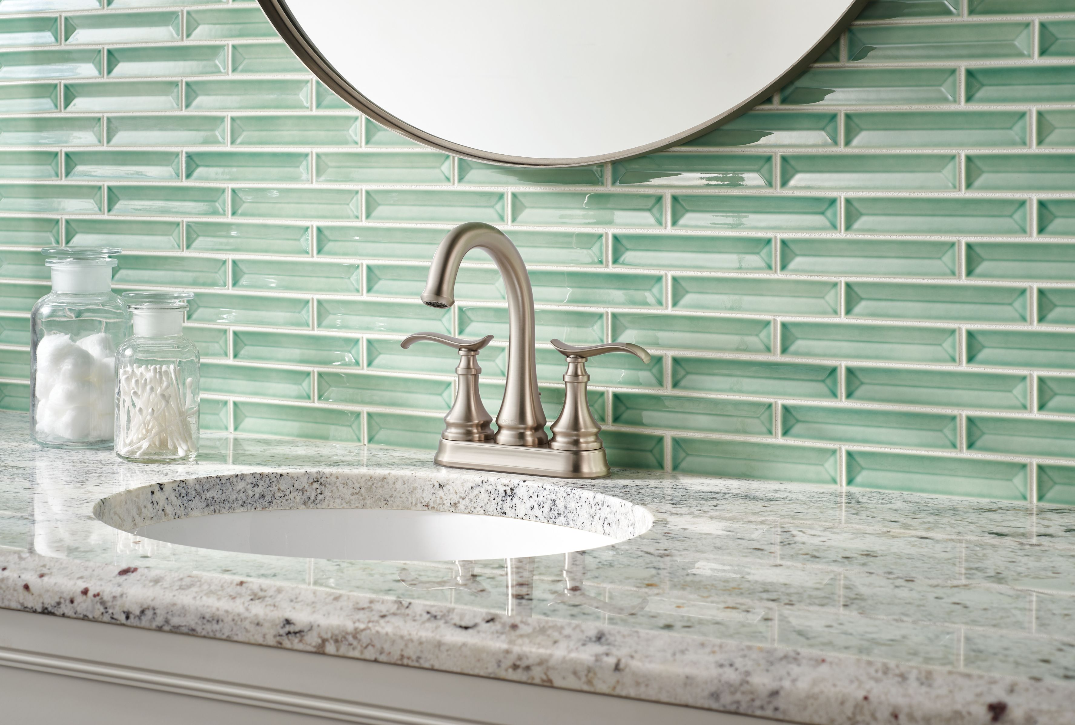 Stunning The Brushed Nickel Faucet From The Delta Faucet Kinley Collection Single Handle Bathroom Faucet Bathroom Makeover Single Handle Bathroom Sink Faucets [ 2396 x 3550 Pixel ]