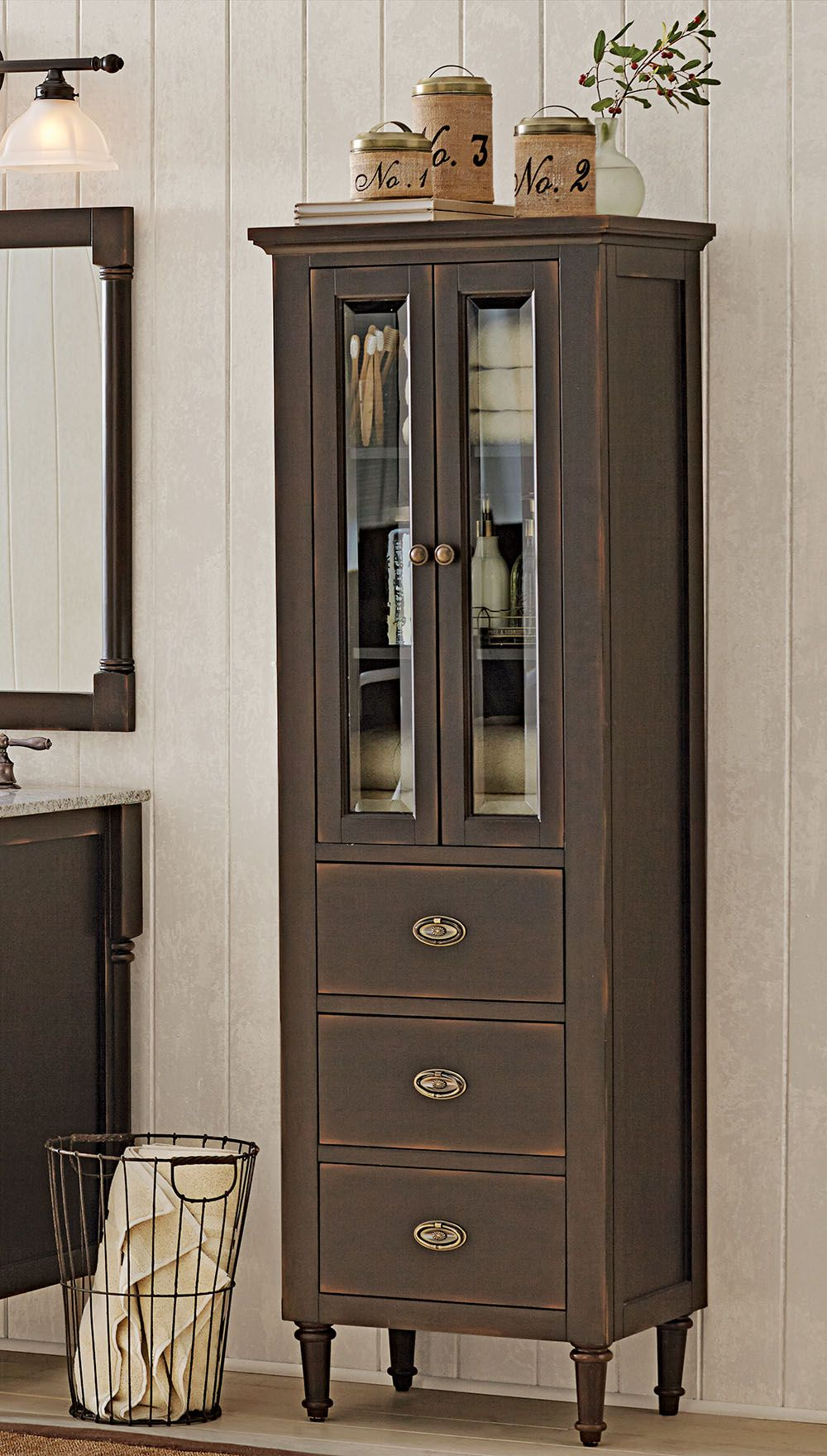 A Unique Linen Cabinet For All Your Toiletries Loving The Narrow Glass Windows Homedecorators