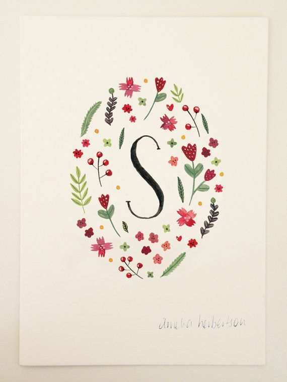 Amelia Herbertson: Ameliaherbertson Etsy, Floral Art Prints, Floral Illustration, Floral Letter S