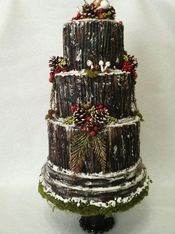 buche de noel wedding cake christmas fairytale yule log cake woodland cake fake yule log cake fake cake faux cake display cake - Christmas Yule Log Cake