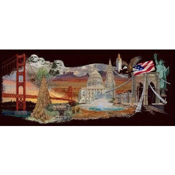 Alle highlights van Amerika gevangen in dit prachtige, gedetailleerde borduurwerk op een zwarte achtergrond. <br />