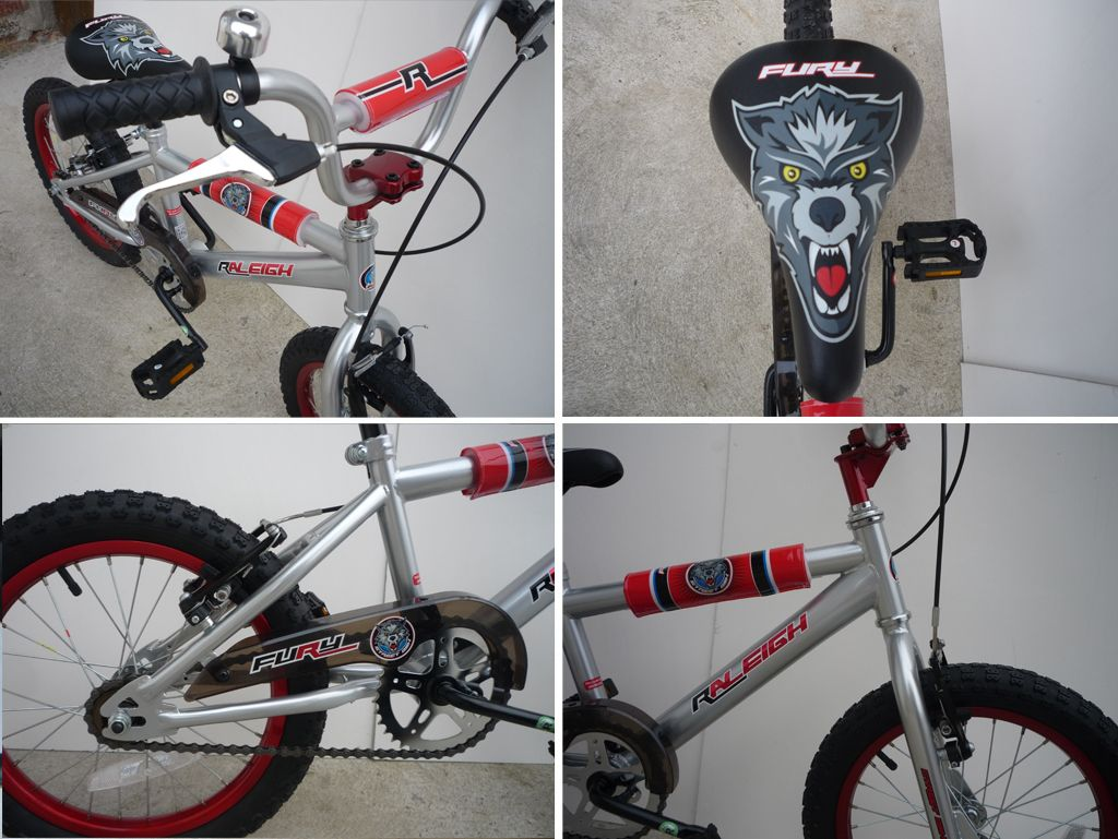 Velo Bmx Raleigh Fury Gris Rouge 16 Pouces Bike Bicycle 16 Enfant