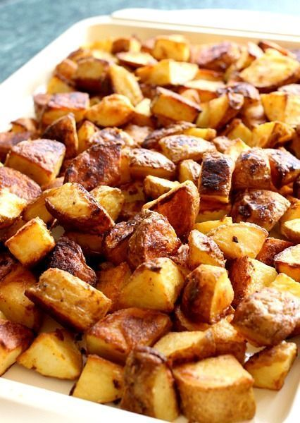 Cubed potatoes tossed with a mustard dressing and roasted until crispy. A delicious, low-fat side dish!
