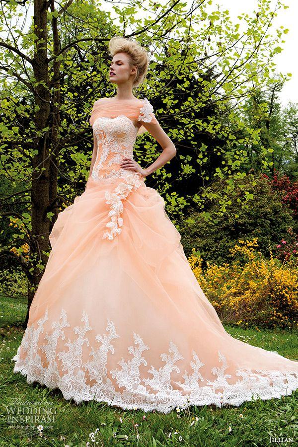 d3b3d05d374 jillian 2015 wedding dress strapless sweetheart neckline corset bodice  peach color gathered ball gown