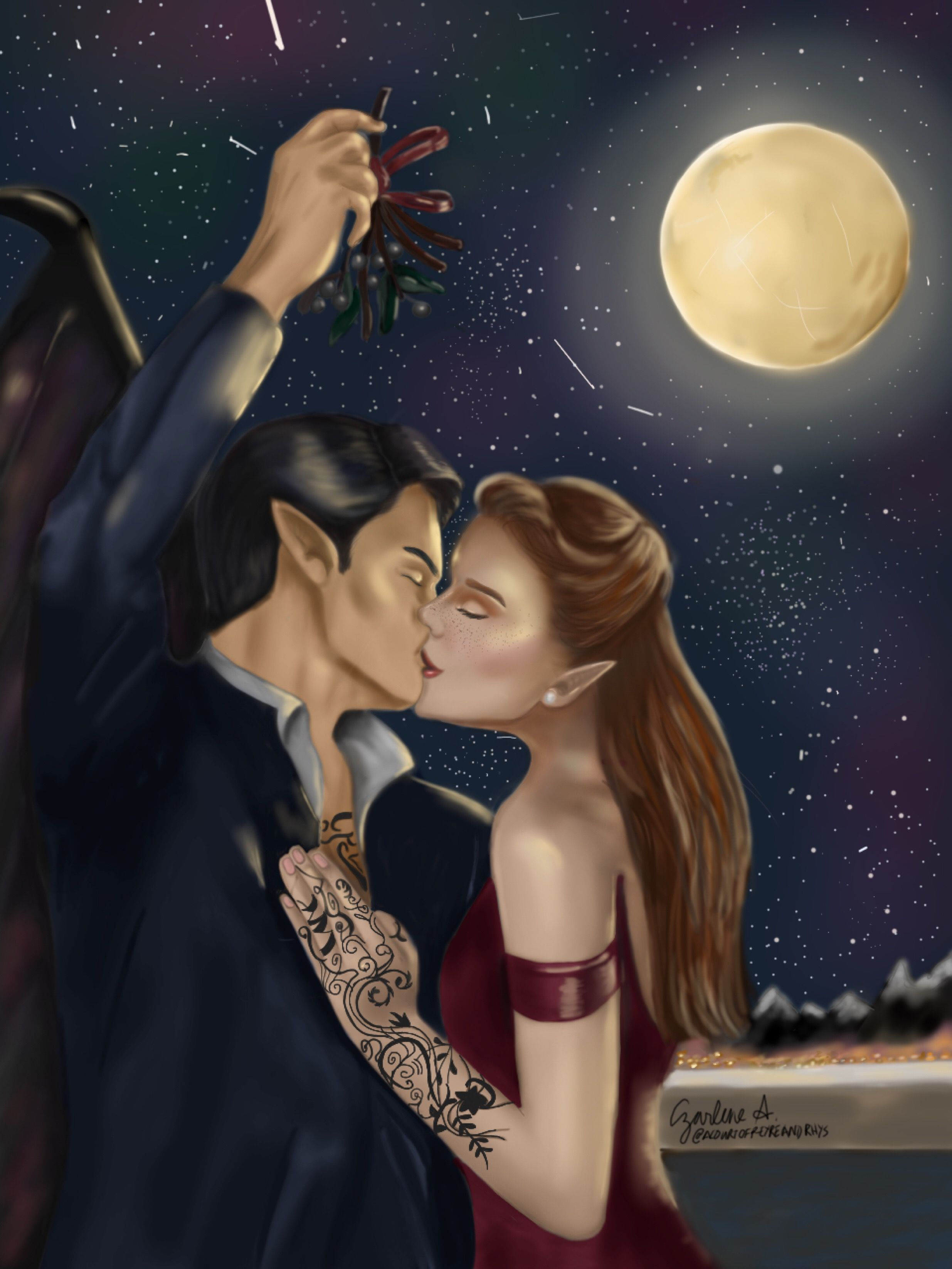 Feyre And Rhysand Kissing Under A Mistletoe By Czarlene A Ig