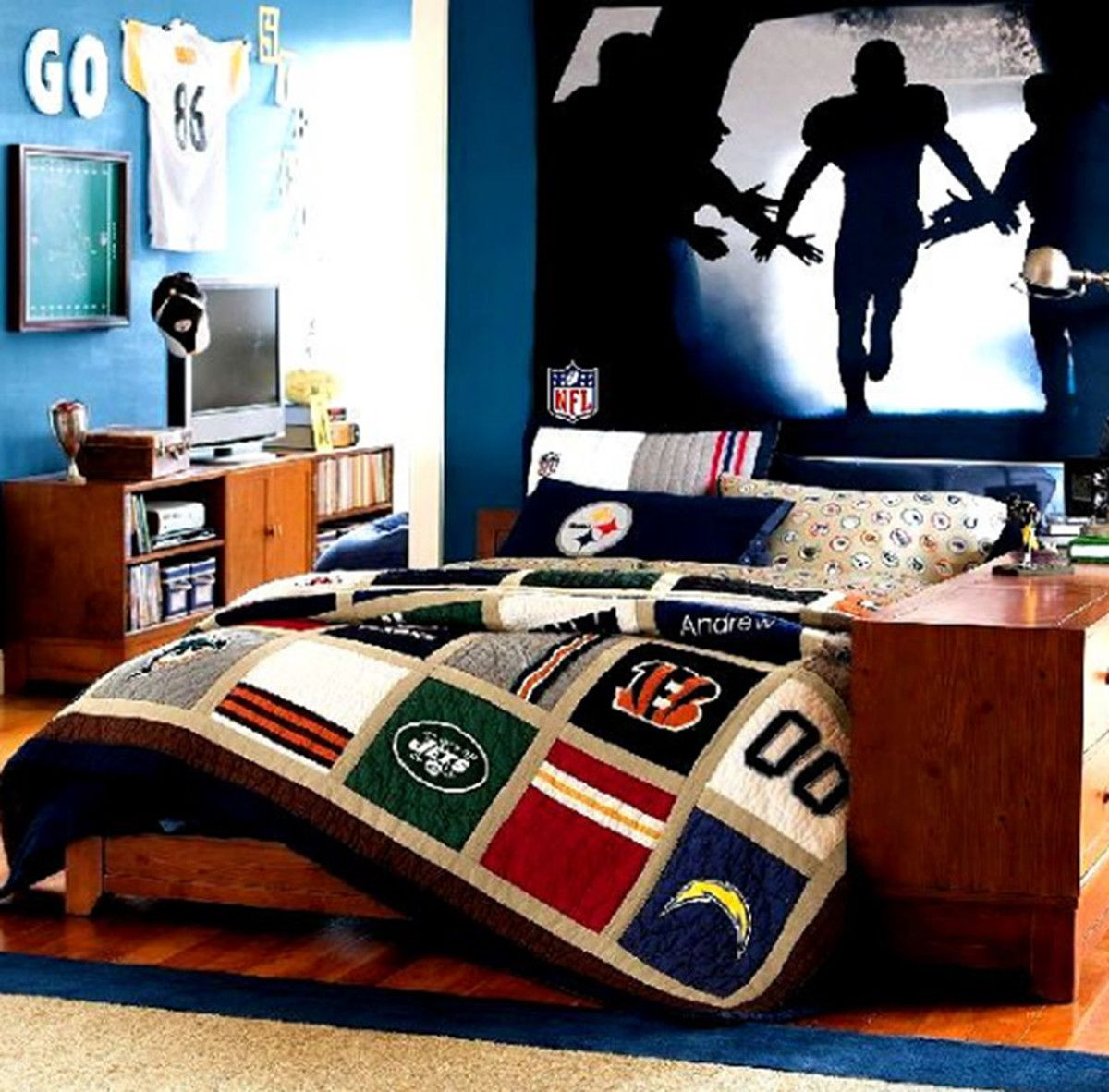 tween furniture. Accessories \u0026 Furniture, Captivating Blue Wall Paint Tween Boy Bedroom Ideas With Beautiful Sport Wallpaper And Charming Brown Wood Maple Comfortable Furniture