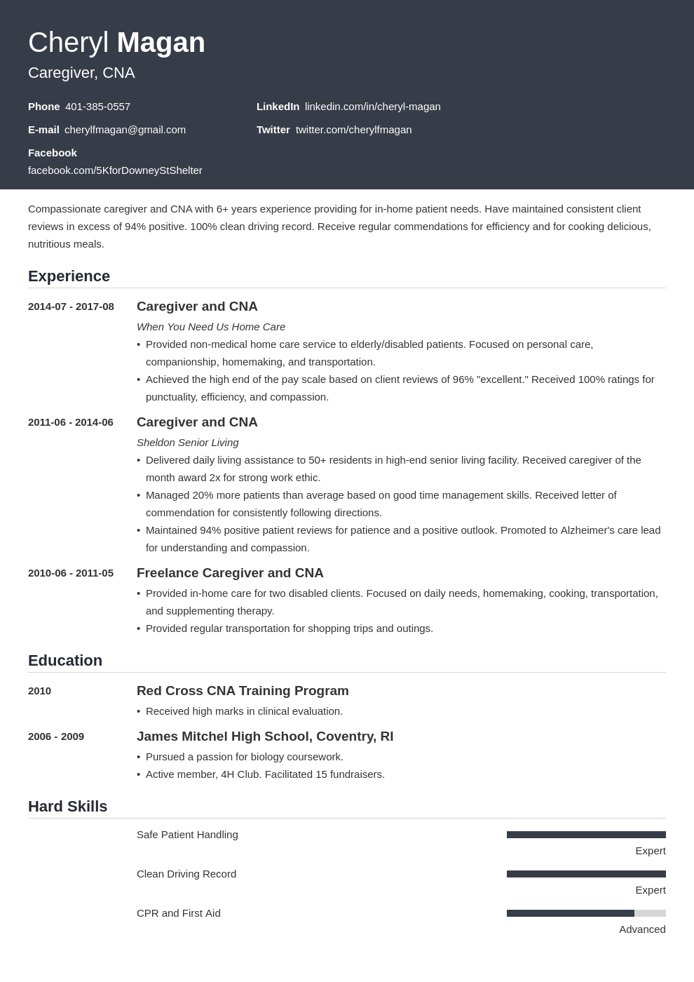 Caregiver Resume Example Template Influx Resume Skills List Resume Examples Job Resume Examples