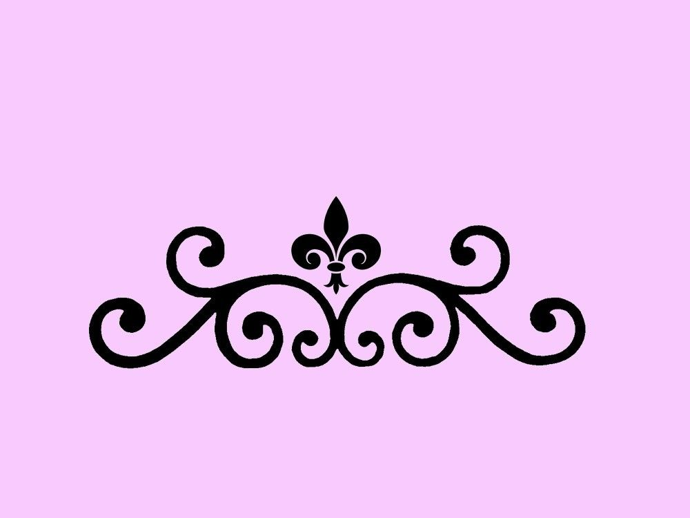 stencil fleur de lis scroll 7x2 stenciling etsy and tattoo. Black Bedroom Furniture Sets. Home Design Ideas