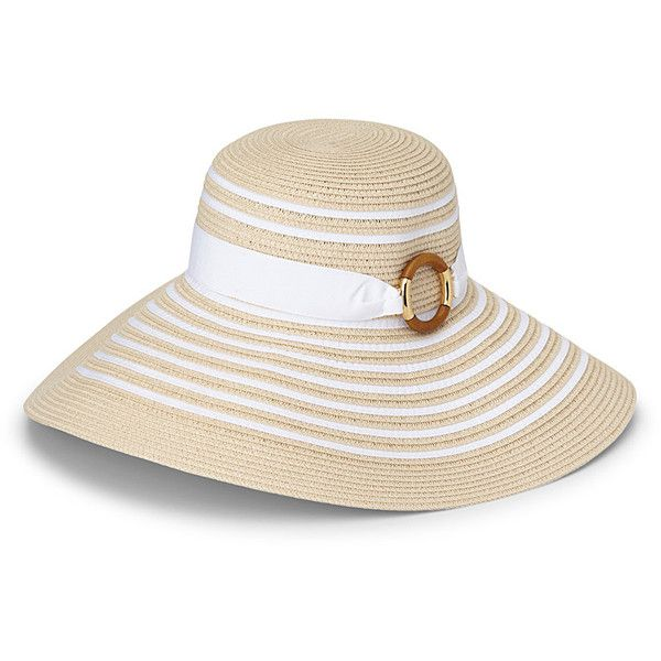 d6259994093 Lauren par Ralph Lauren Ring-buckle straw floppy hat ( 41) ❤ liked on  Polyvore featuring accessories
