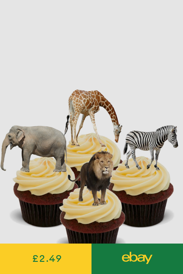 African Safari Animals Edible Cupcake Toppers Stand Up Cake Decorations Jungle Animal Cake Topper Safari Cakes Animal Party