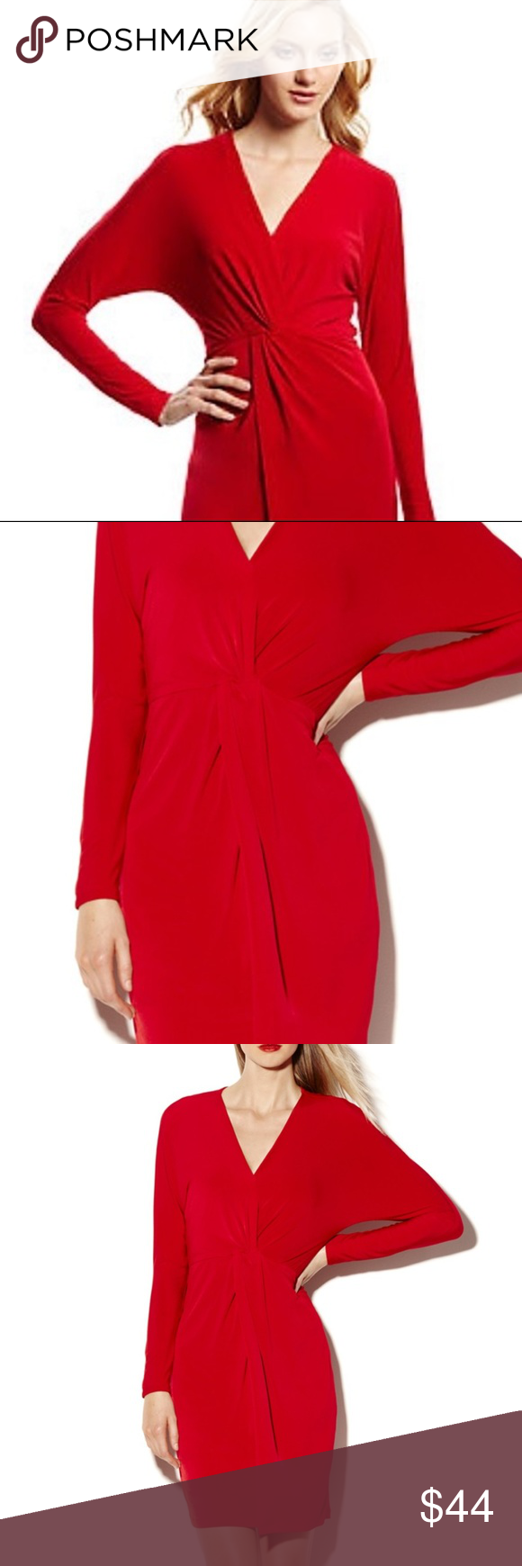Vince camuto red gathered knot waist dress nwt detail design