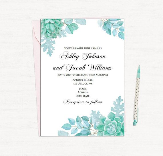 mint wedding invitations succulent wedding invitation template mint wedding floral 5958