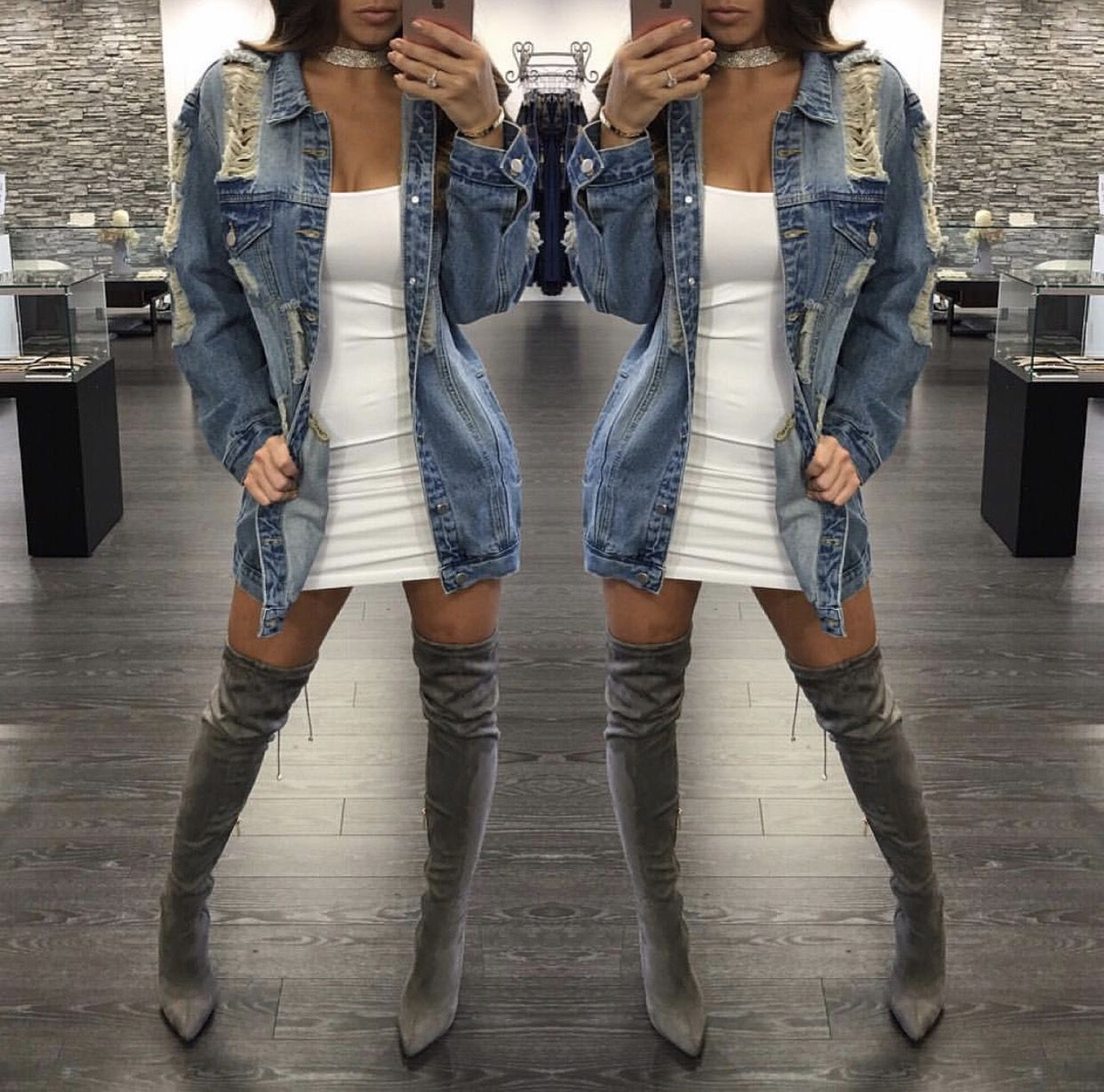 24b612e88 white dress with denim jacket & thigh high boots | winter fashion in ...