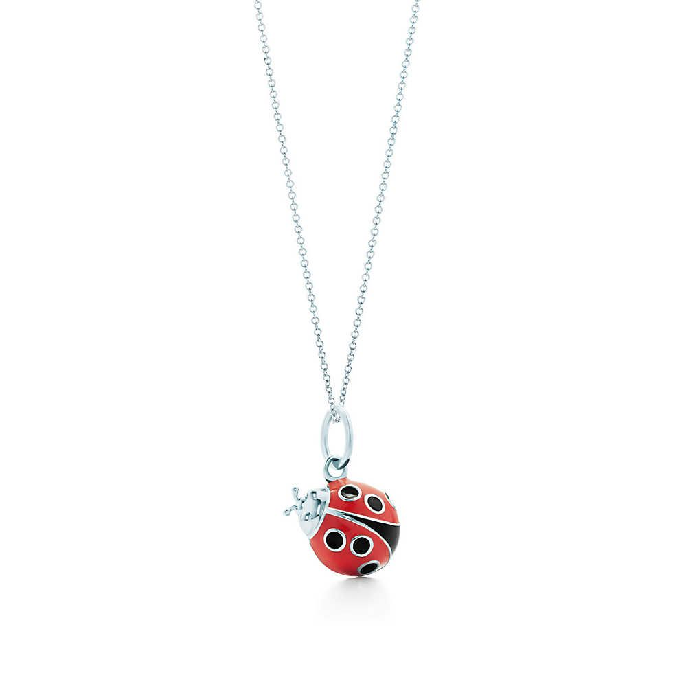 96707cc2a Ladybug charm in silver with red and black enamel finish on a chain, small.  | Tiffany & Co. Wish I could afford this for my sister :)