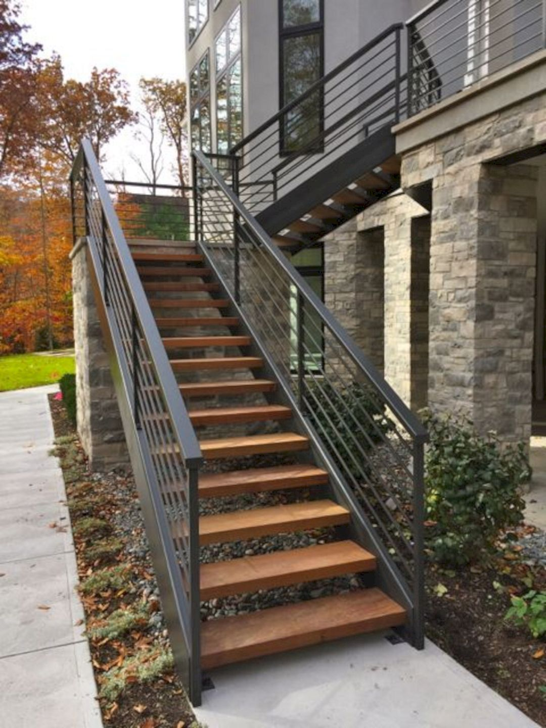 Outdoor Wooden Stairs Ideas 30 (Outdoor Wooden Stairs ... on Backyard Stairs Design  id=99068