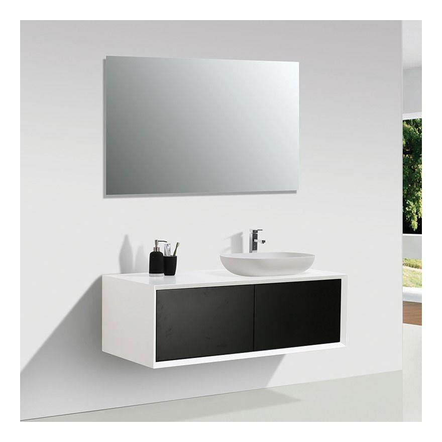 Meuble Salle De Bain Double Vasque Palio 120 Cm Blanc Noir Mat