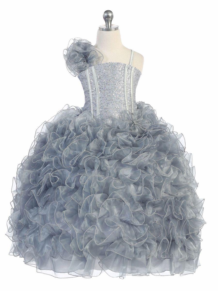 Silver Ruffle Dress w/ Sparkle Bodice | kids1 | Pinterest | Ruffle ...