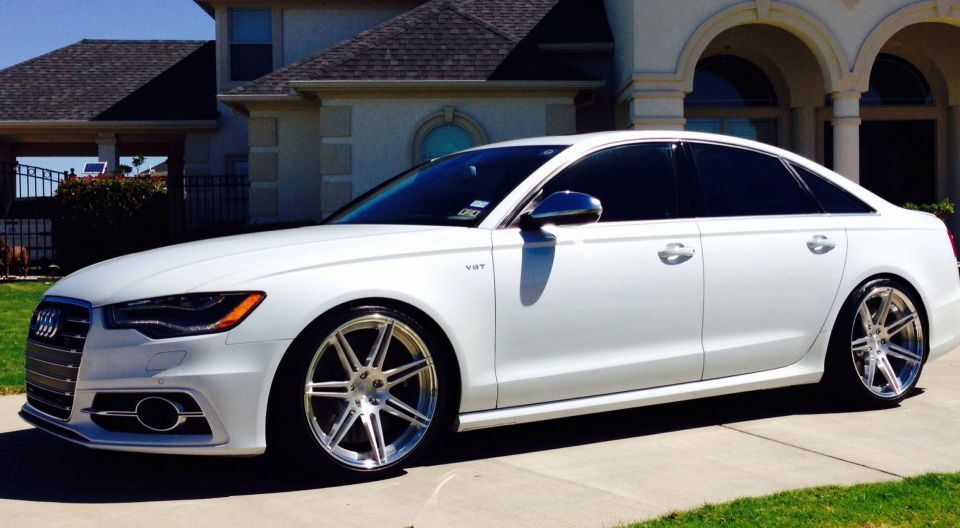 glacier white S6 wheels, H&R lowering mod  and AWE exhaust