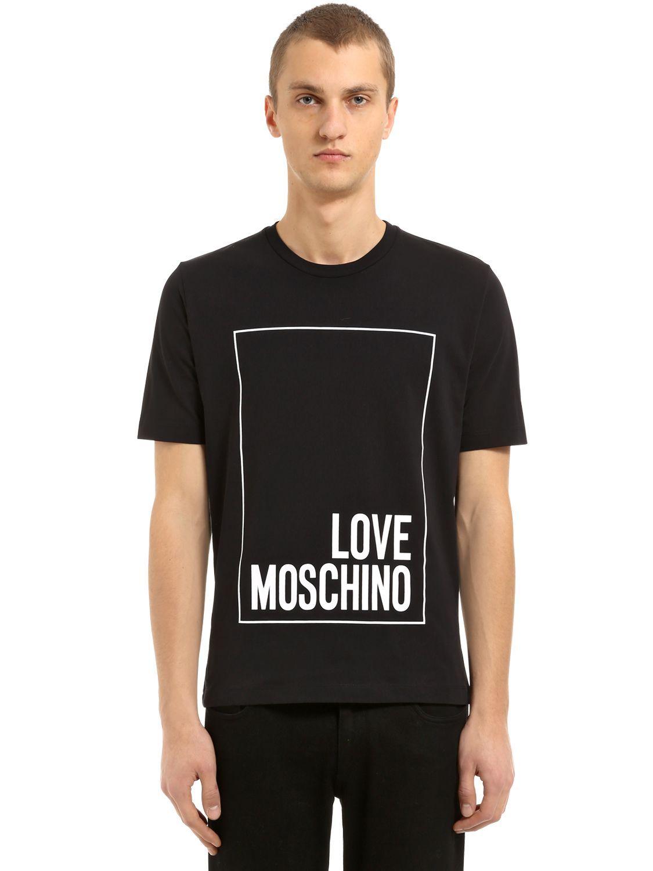 Love Moschino Box Logo Printed Cotton Jersey T Shirt Lovemoschino Cloth Love Moschino Men Moschino Box Logo Shirts