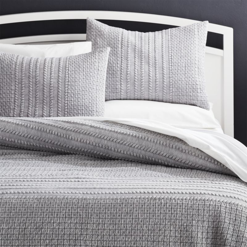 Doret Grey Jersey Quilts And Pillow Shams Crate And Barrel Bed Linens Luxury Bed Linen Design Modern Bed