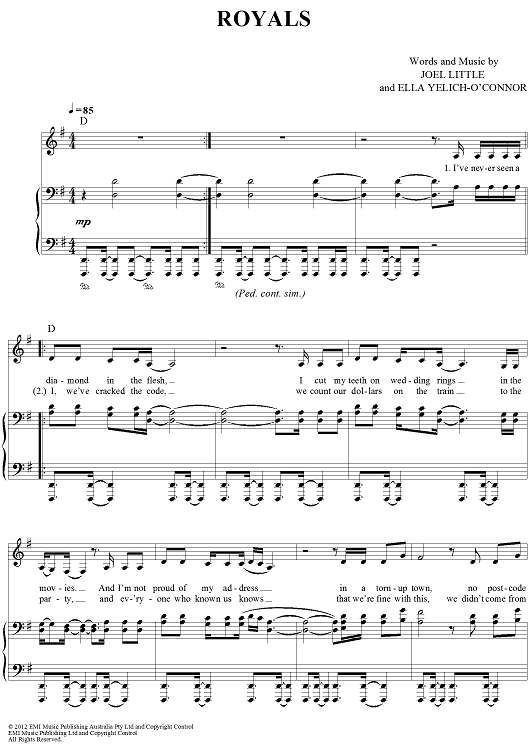 Royals Sheet Music By Lorde Sheet Music Royals And Ps