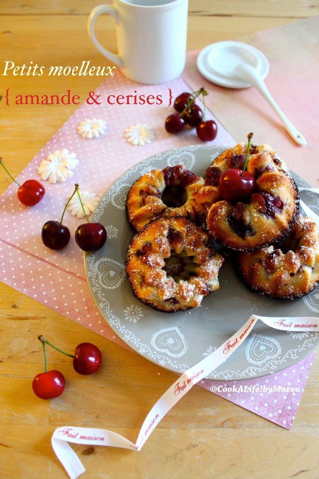 Petits moelleux { amande, fleur d'oranger et cerises } / Little moist cakes { almond, orange blossom and cherries }