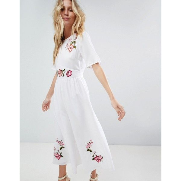 0fc207a0 ASOS Embroidered Tea Jumpsuit ($72) ❤ liked on Polyvore featuring  jumpsuits, white, embroidered jumpsuit, asos jumpsuit, asos, jump suit and  high neck ...
