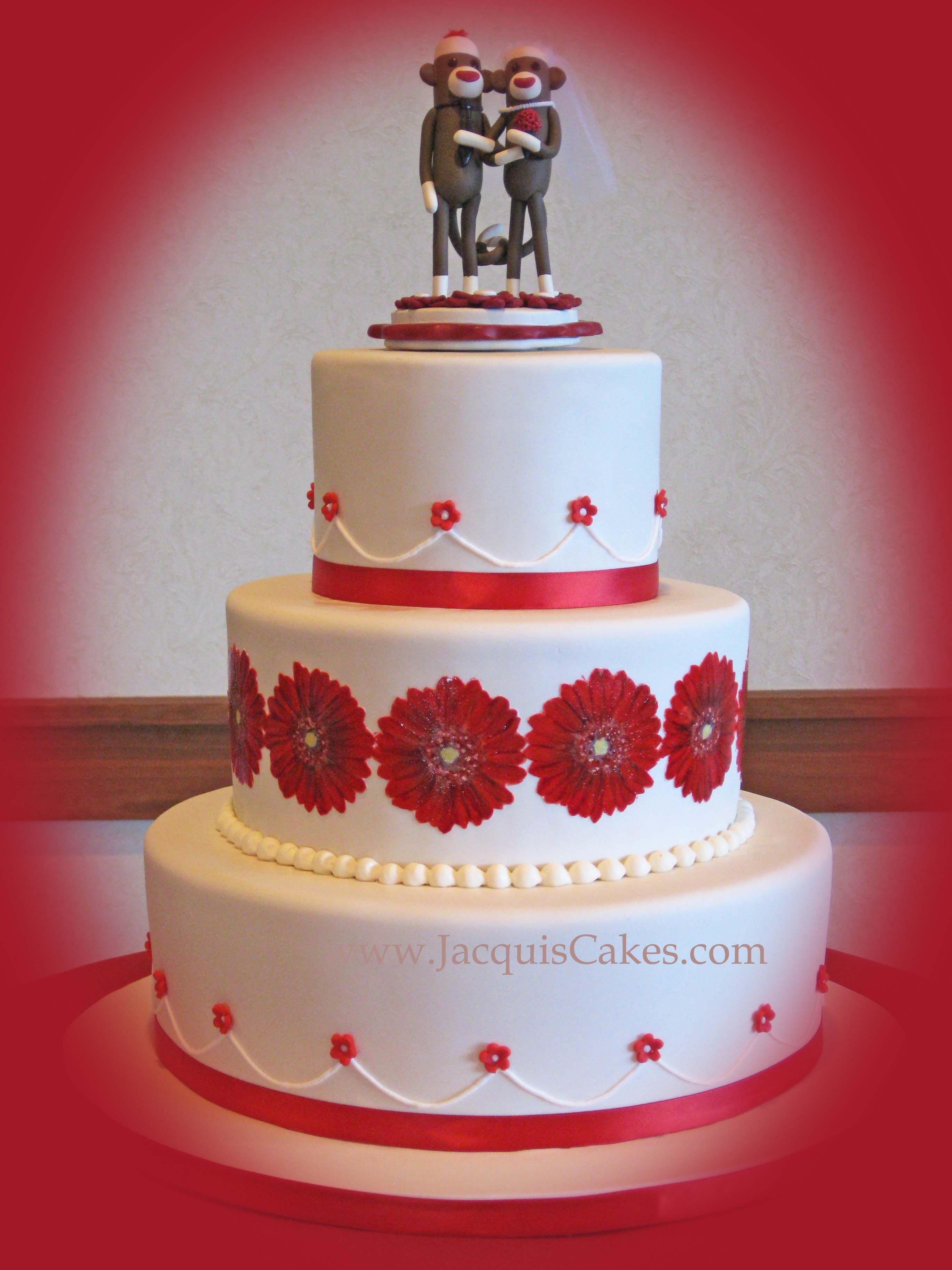 Christina s Red Gerber Daisy Wedding Cake