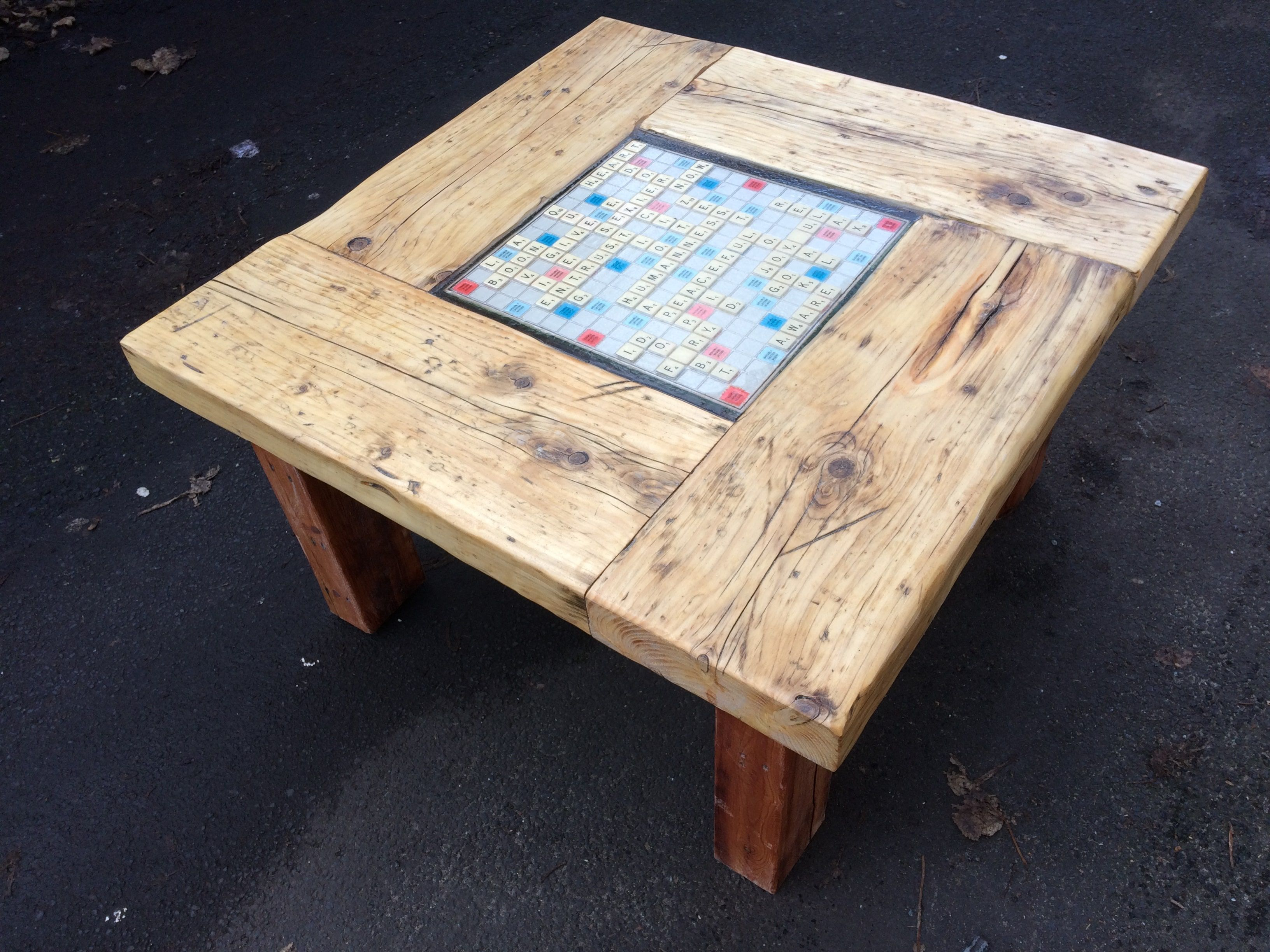 Coffee Table Made From Scaffold Boards And Inlaid With A Vintage Scrabble Board And Scrabble Tiles Table Coffee Table Reclaimed Furniture [ 2448 x 3264 Pixel ]